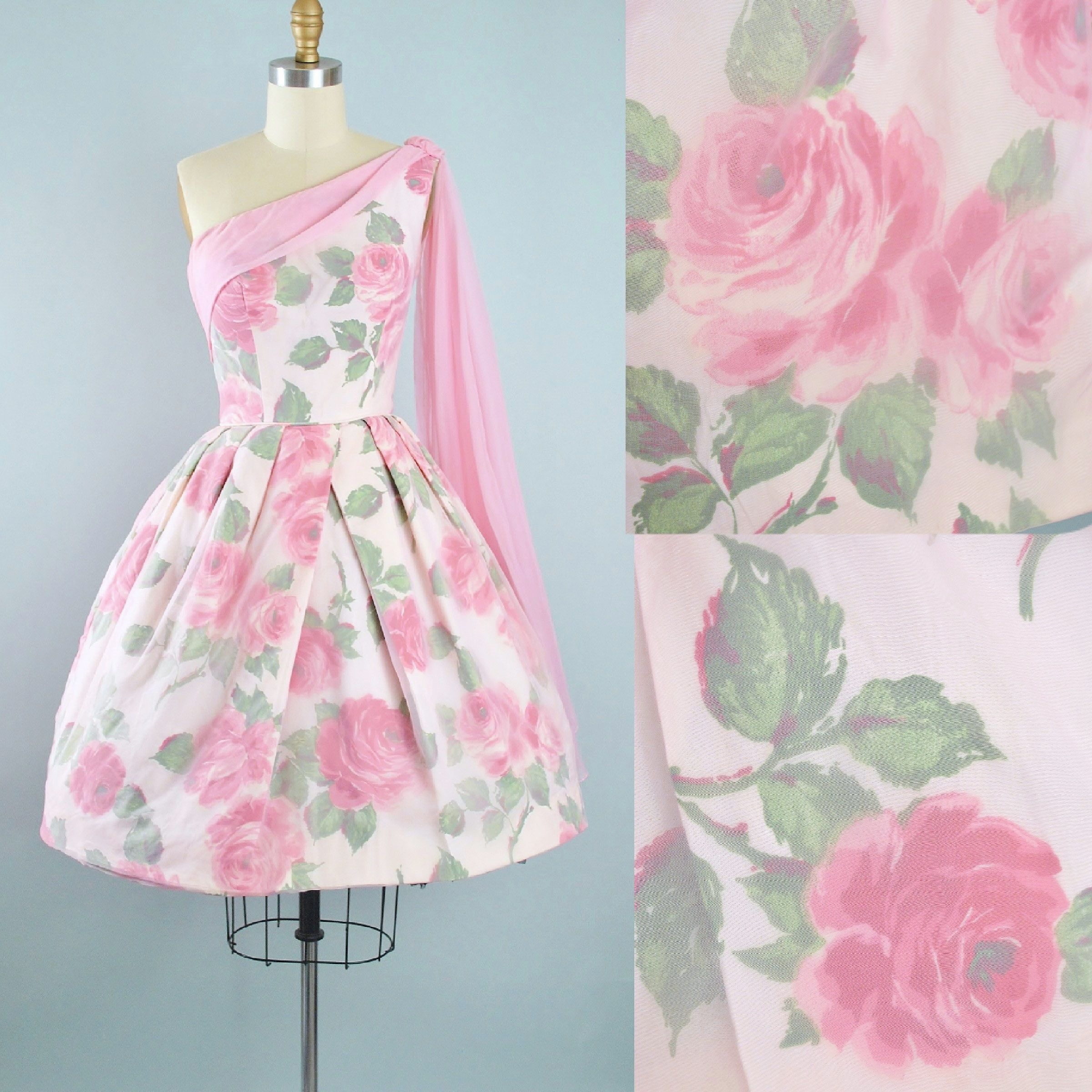 Vintage 50s ROSE Print Dress / 1950s Pink Chiffon Floral Roses ...