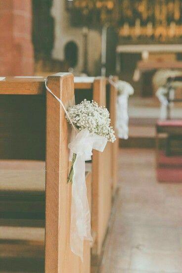 Wedding Hochzeit Dekoidee Schleierkraut Kirche Decore For