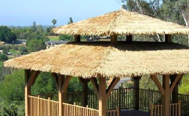 If Natural Thatch Isn T For You Try This Option Our Synthetic Thatch Products Are A Cost Effective And Smart Alternat Thatched Roof Thatch Backyard Shade