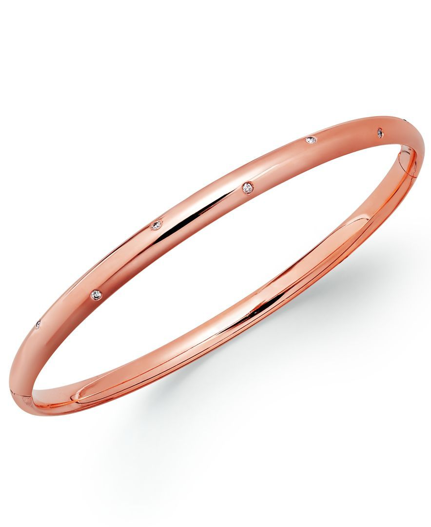 K rose gold diamond accent bangle bracelet products pinterest