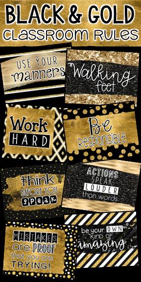 Classroom Rules Editable Black And Gold Classroom Decor