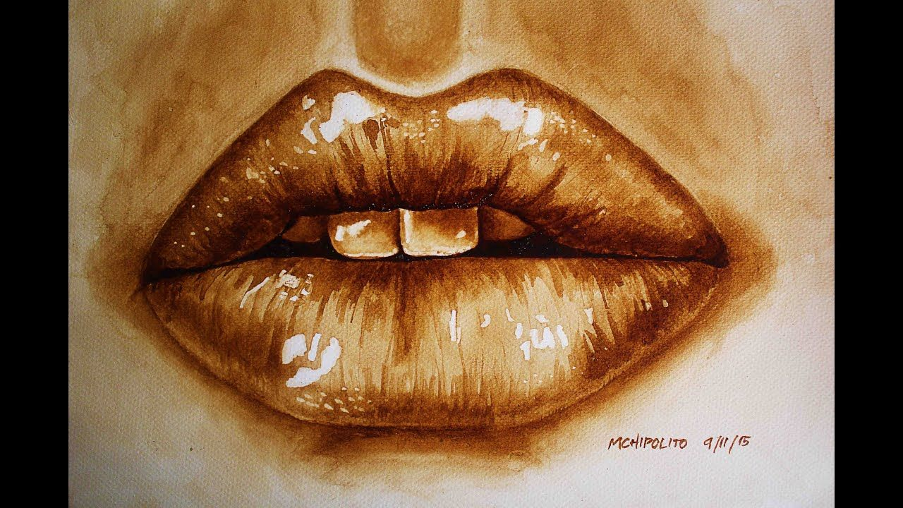 Coffee Painting Tutorial How To Paint Realistic Lips By Coffee