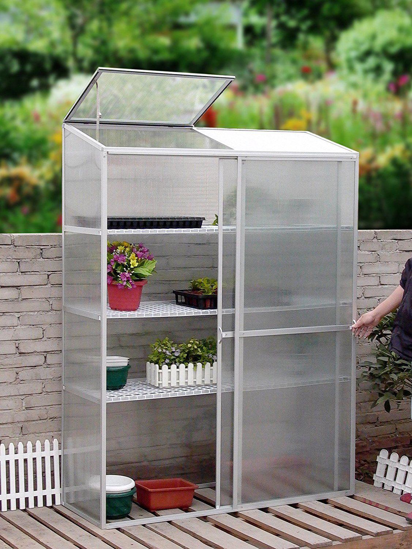 Amazon.com : Aluminum mini greenhouse cold frame Garden plants tools ...