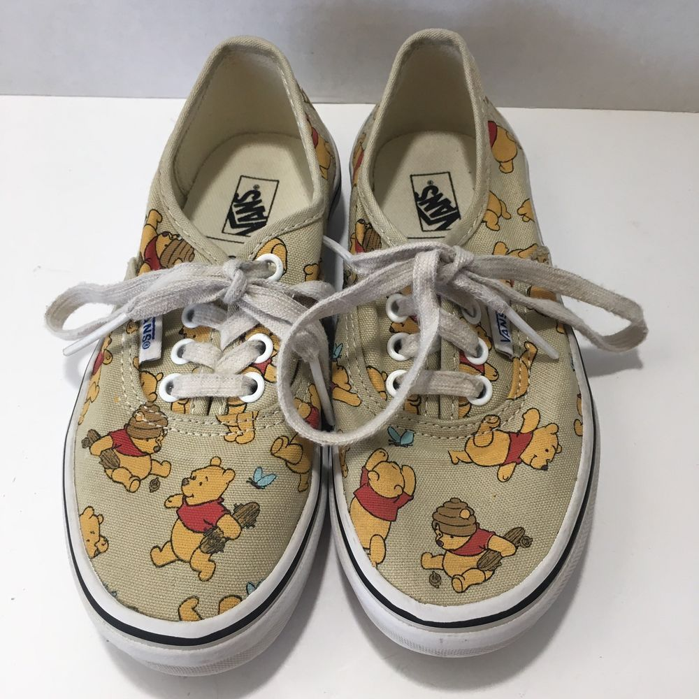 c70b54f9c36e40 Disney Winnie The Pooh Vans Authentic Classic Tennis Shoes Youth Size 13  Unisex