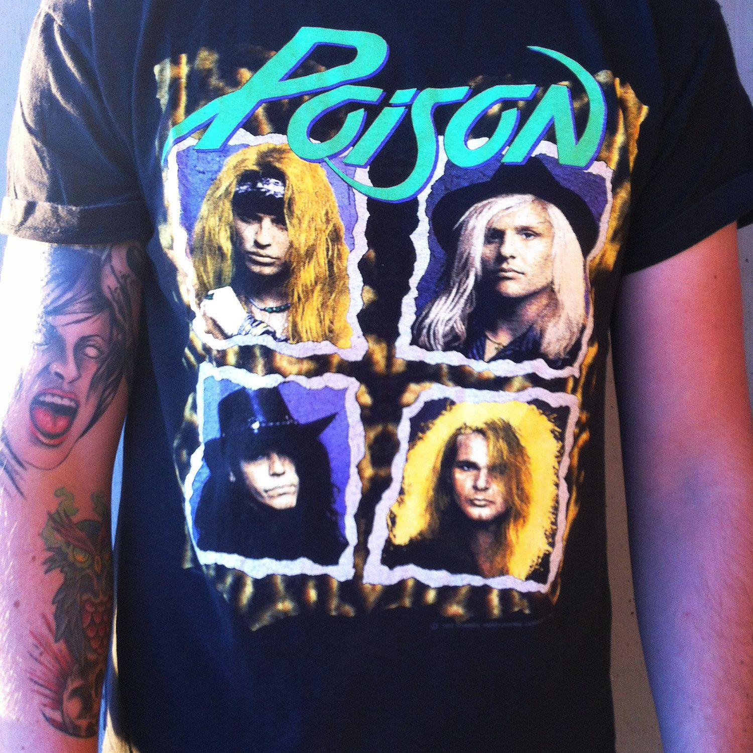Is Bret Michaels Married Great vintage poison flesh and blood world tour band shirt - 1990-91