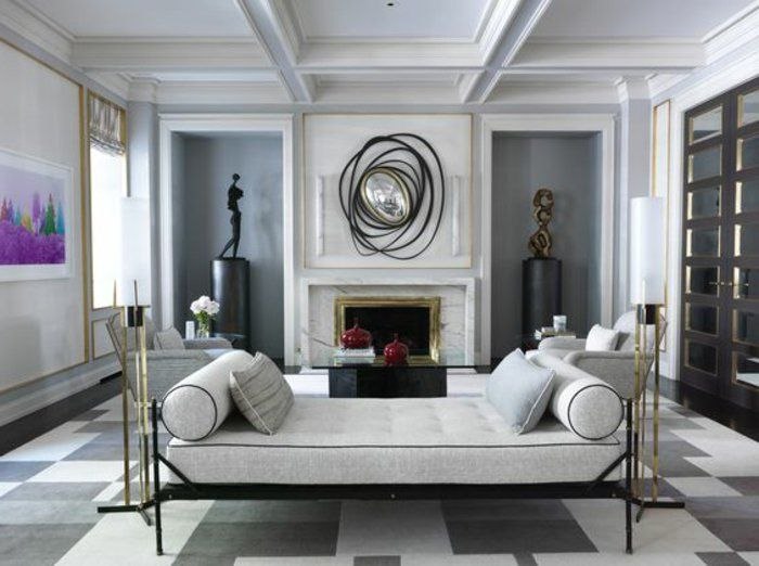 Graues Zimmer ein stilvolles graues zimmer mit designer möbel und deko so