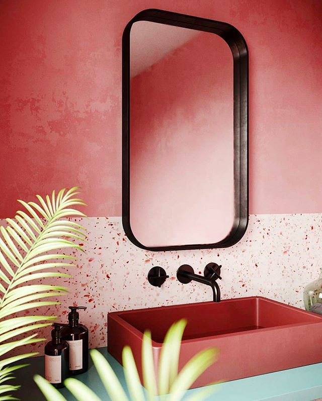 Happy Monday We Start The Week With The End Of Magenta Inspo Great Shot By Yaroslav P Bathroom Decor Apartment Bathroom Interior Design Pink Wall Mirrors