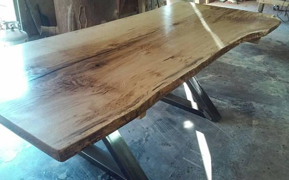 Live Edge Spalted Burr Oak Dining Table Single Piece Top