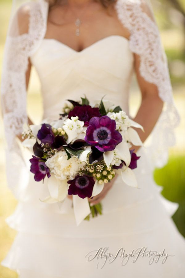 Like All These Varieties Especially Dark Purple Anemones A Fuller Version With Paler Flowers Incorpora Purple Bridal Bouquet Bridal Bouquet Fall Plum Wedding