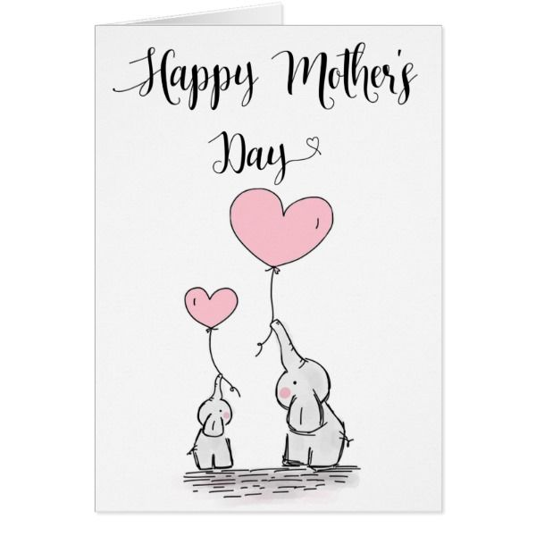 Cute Elephant And Baby Mother S Day Card Zazzle Com Mother S Day Gift Card Happy Mother S Day Card First Mothers Day Gifts