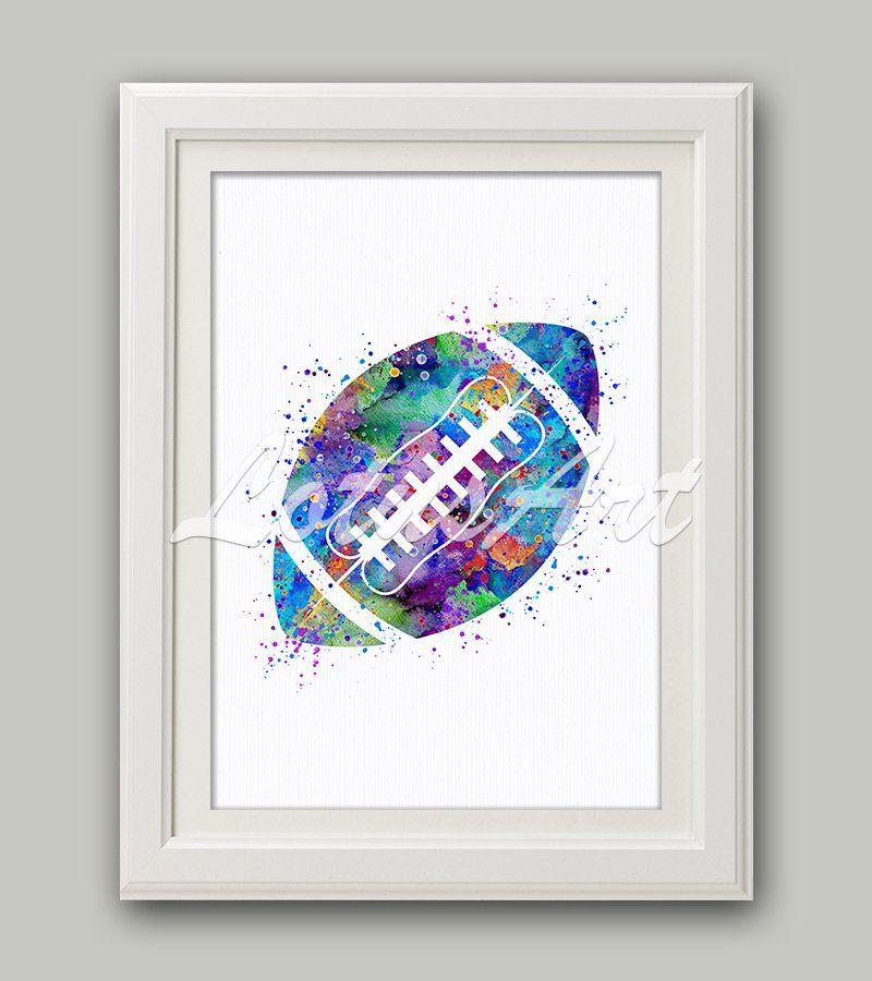 American Football Ball Watercolor Wall Art Print Football Ball
