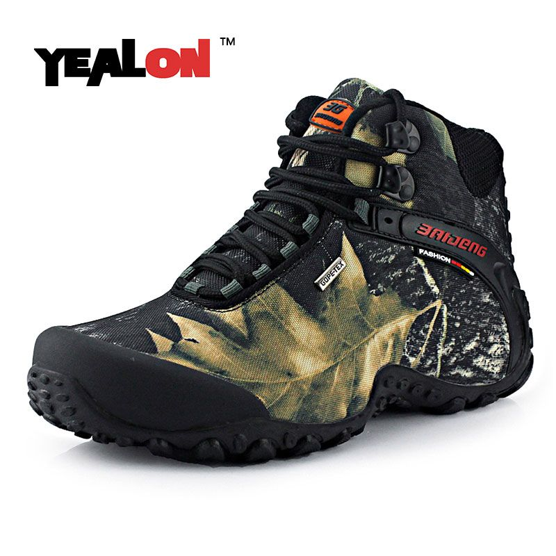 YEALON Waterproof Hiking Shoes Mens Espadrilles Chaussure Chasse Homme Men  Hiking Boots Hiking Waterproof Fishing Shoes
