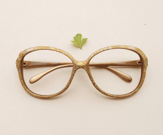6066268d7d9 Vintage Stendhal frames   gold sparkly glitter French hipster eyeglasses   oversized  glasses   80s deadstock women s golden sunglasses by Skomoroki