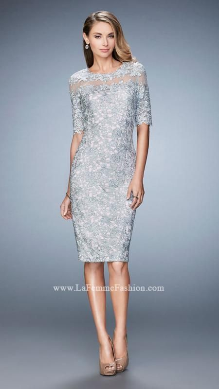 La Femme 22989 Elbow Sleeve Illusion Neck Lace Dress in Silver Pink ...