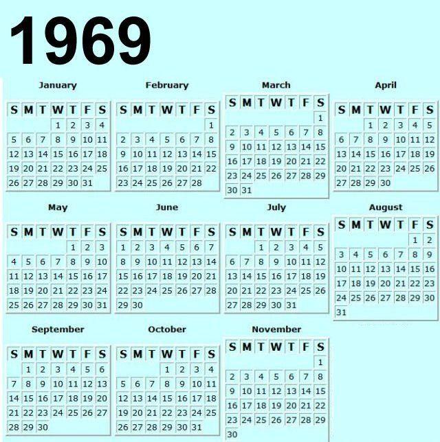 1969 Model Production Year Calendar Words January February