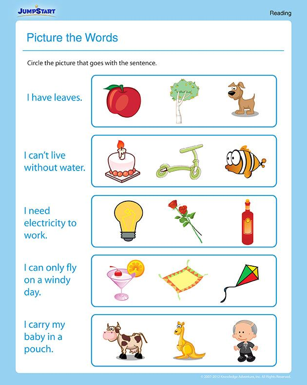 Picture The Words Printable Reading Worksheet English