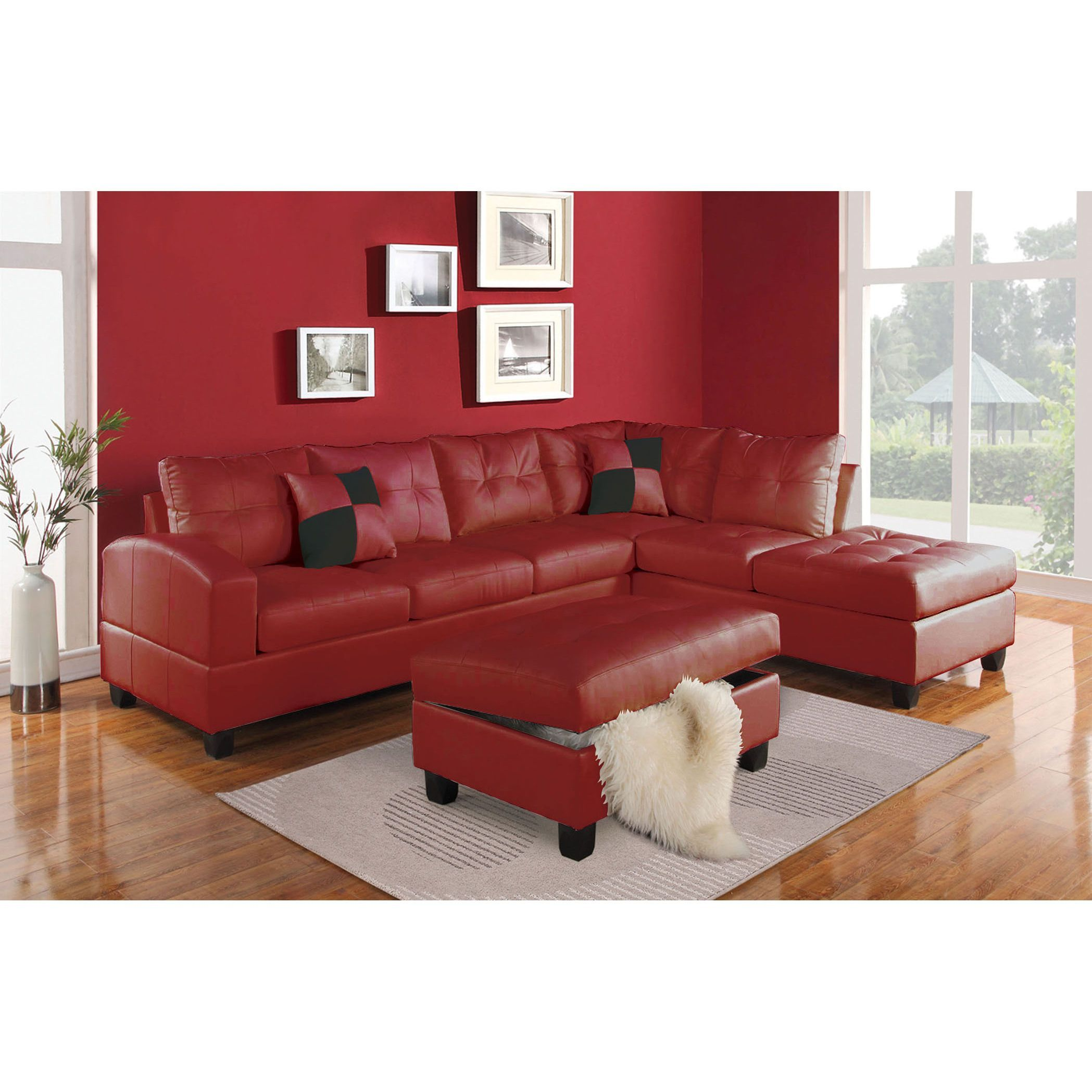 Acme kiva match sectional sofa red leather sectionals - Red leather living room furniture set ...