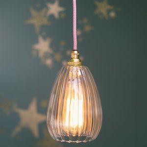 b0517c81fa3 Glow Lighting Molly Handmade Ribbed Glass Pendant Light Clear Glass Pendant  Light