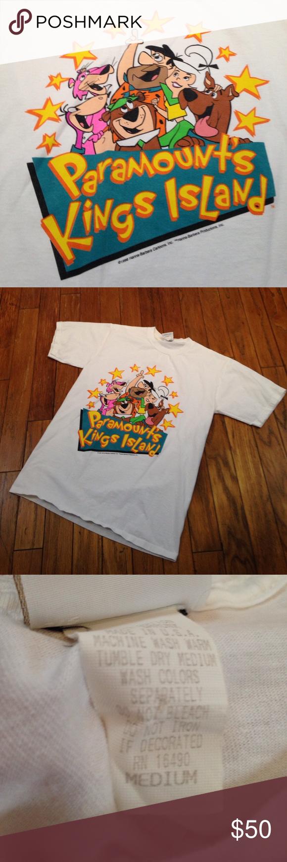 90s Vintage Paramount Kings Island T Shirt Medium Kings Island Roller Coaster Theme Vintage