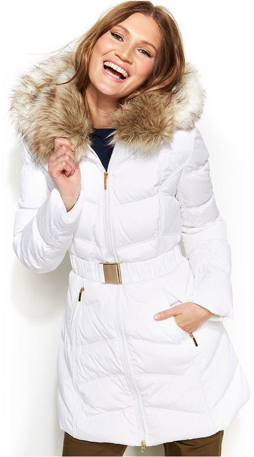 Laundry By Shelli Segal Faux Fur Hooded Down Puffer Coat An