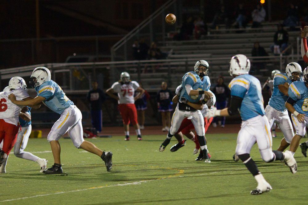 Leland junior qb matt mclaughlin fires a pass in his team