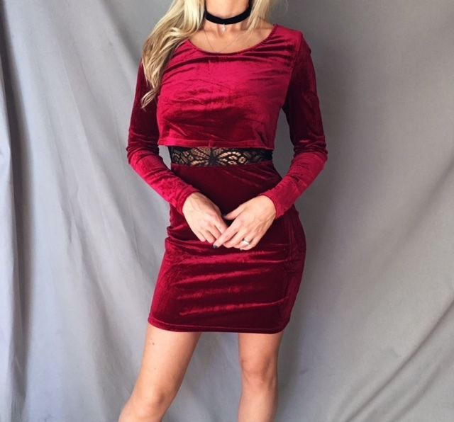 SEXY Red Wine Sheer Lace Velvet Velour Overlay Long Sleeve Bodycon Mini Dress #Unbranded #Sexy