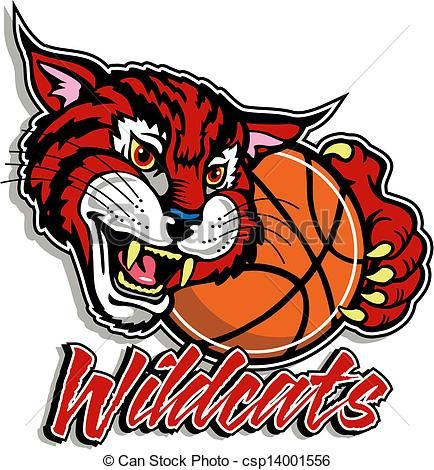 vector cute wildcat with basketball stock illustration royalty rh pinterest com Wildcat Claw Clip Art Wildcats Logo Designs