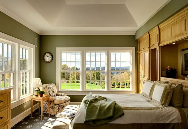 farm house bedroom color scheme, gray, green, red | Green Bedroom Color  Painting