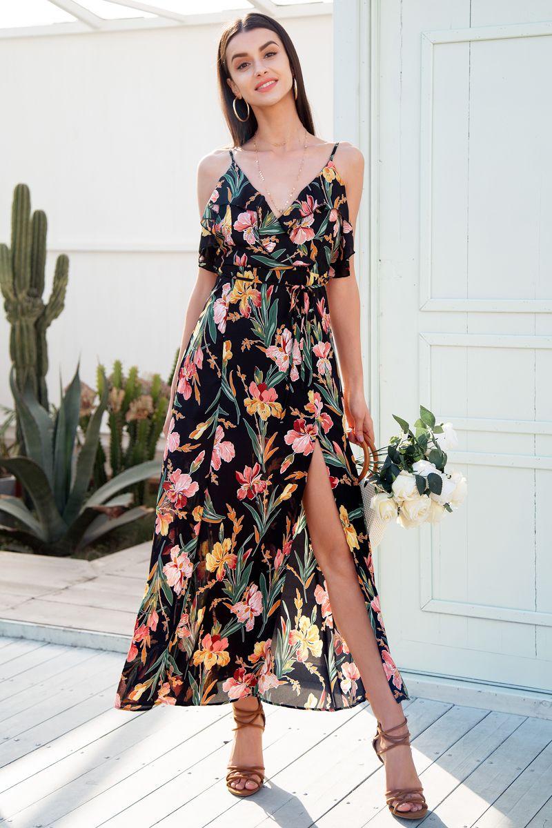 8b198035d3 V neck ruffle floral print summer dress Backless strap boho dress long  Sleeveless split maxi beach dress