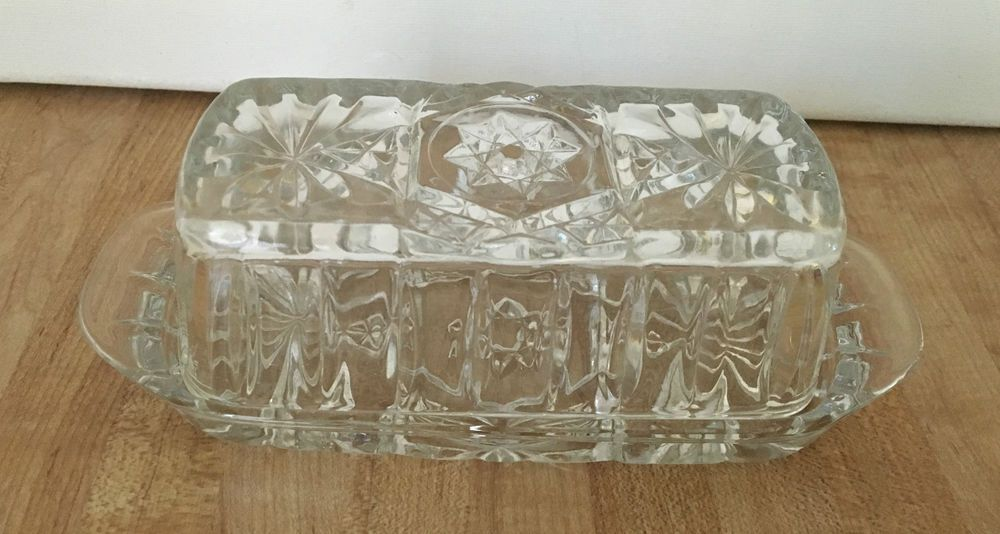Vintage BUTTER DISH & LID 1960's PRESCUT-CLEAR 7-1/4 inch ANCHOR HOCKING #AnchorHocking