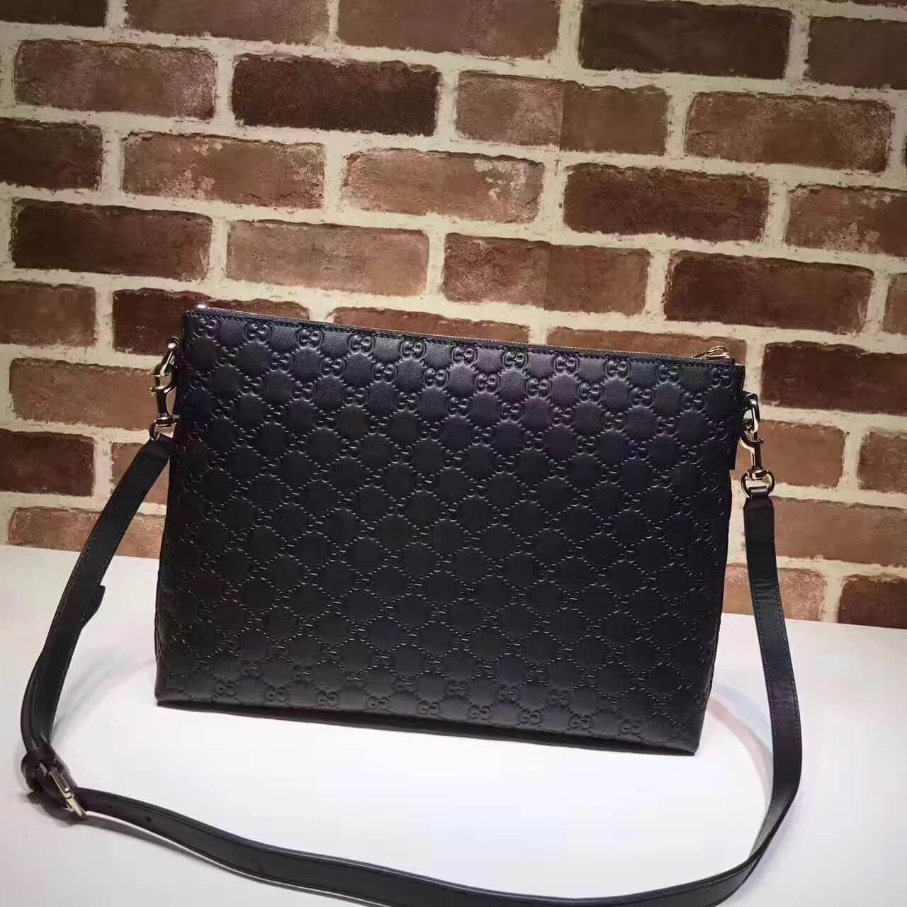 7bcc15cf73d2 Gucci Signature Soft Leather Messenger Bag 473882 Black 2017 | Black ...