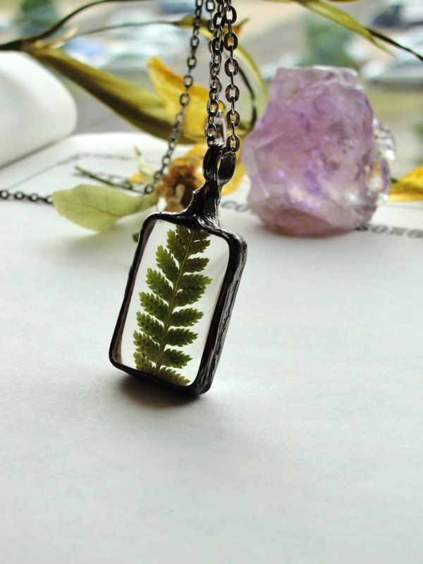 Fern Forest necklace,  Talisman, gift for her, Real Fern Necklace, woodland necklace, Terrarium Fern Jewelry by BUSTANI by BUSTANI on Etsy