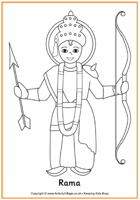 Rama Colouring Page Diwali Story Diwali Drawing Coloring Pages