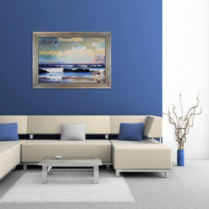 dekoideen wohnzimmer blaue akzentwand beige sofa bodenvase weißer - wohnzimmer blau beige