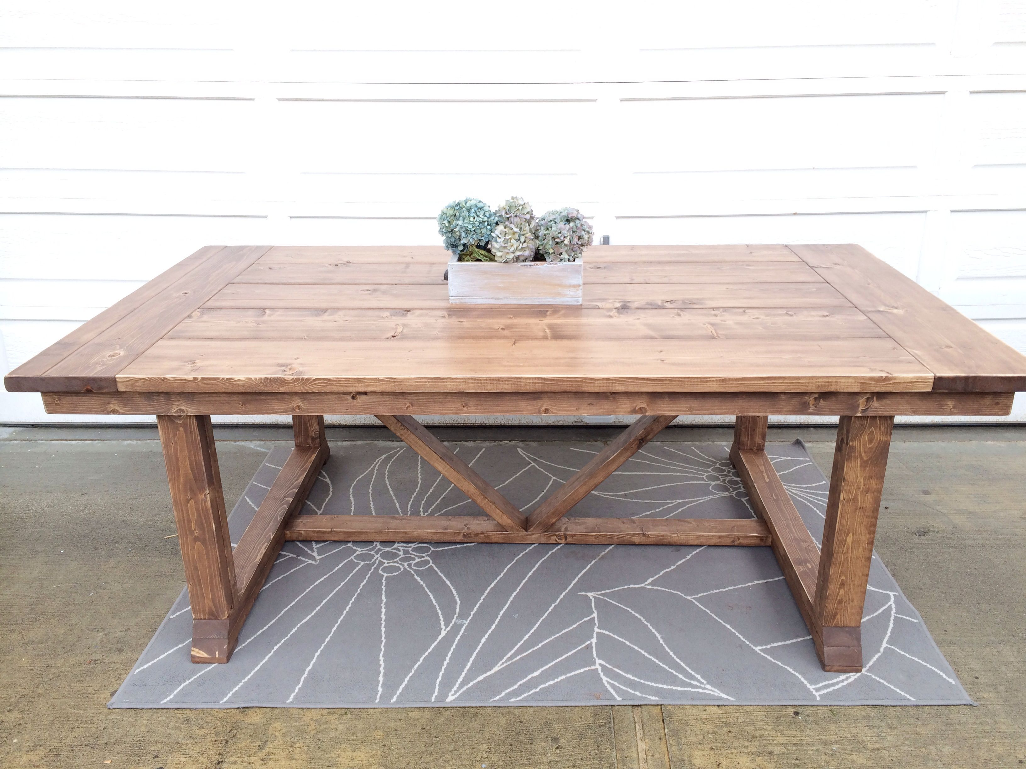Trestle Table Stained In A Weathered Oak Special Walnut