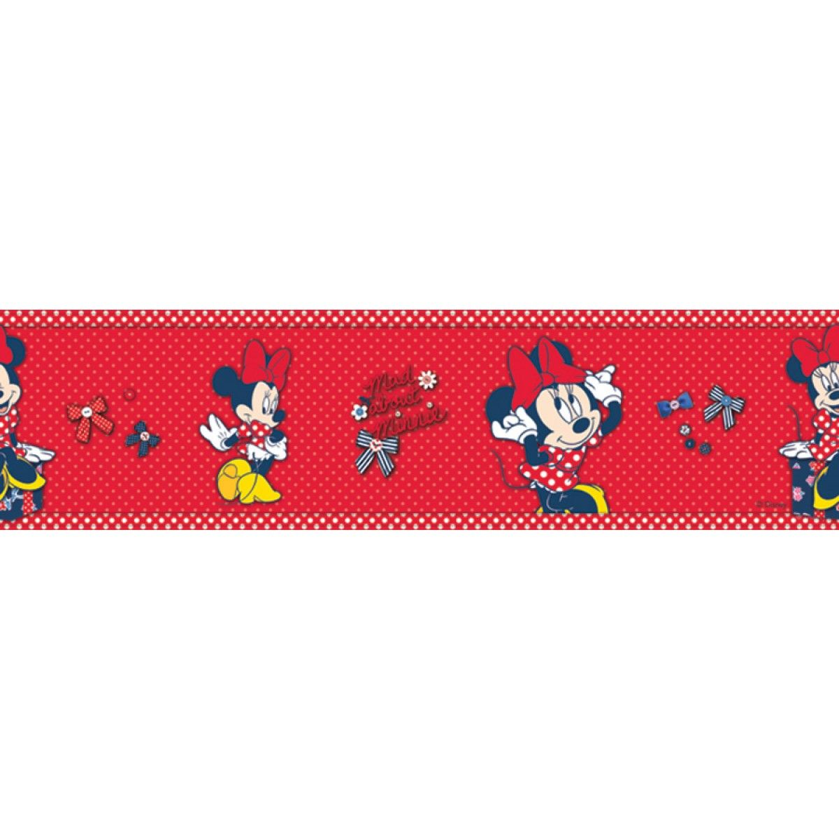 "Minnie Mouse Self Adhesive 6"" Wallpaper Border Red"