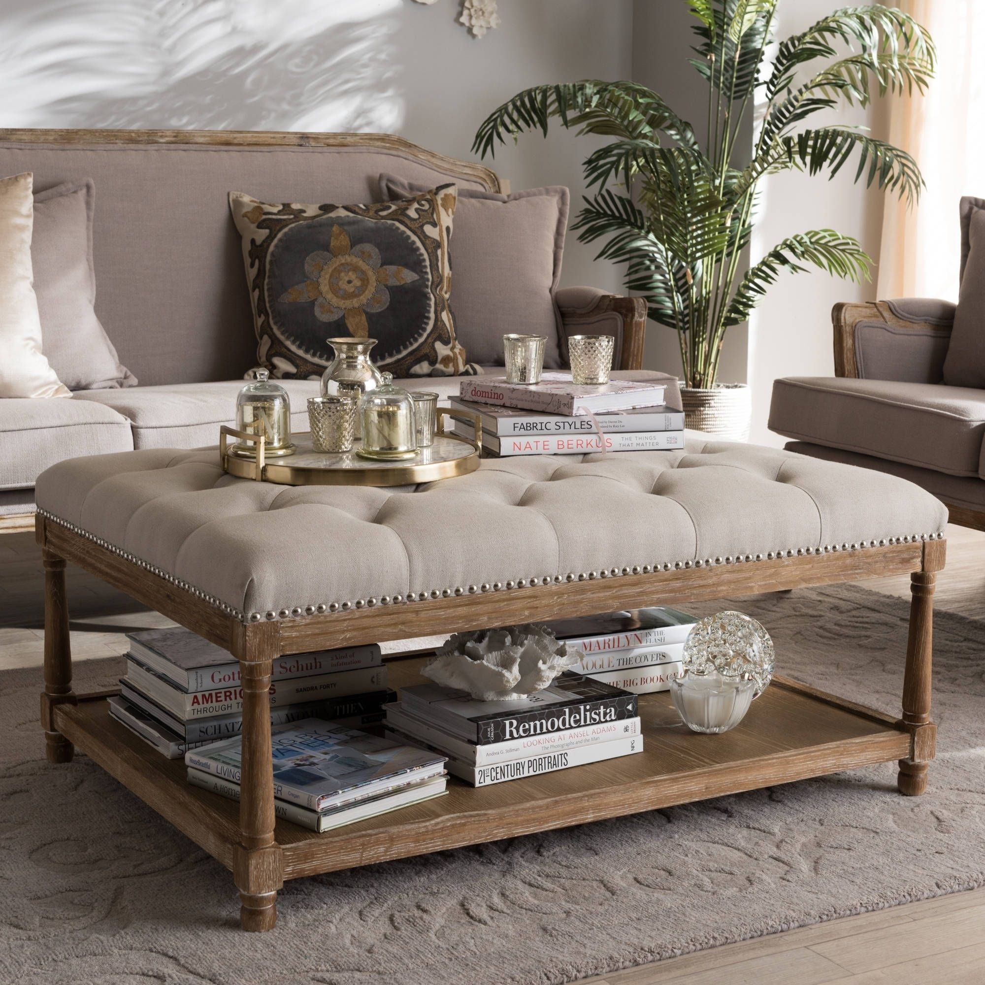 French Country Beige Linen Rectangular Ottoman by Baxton