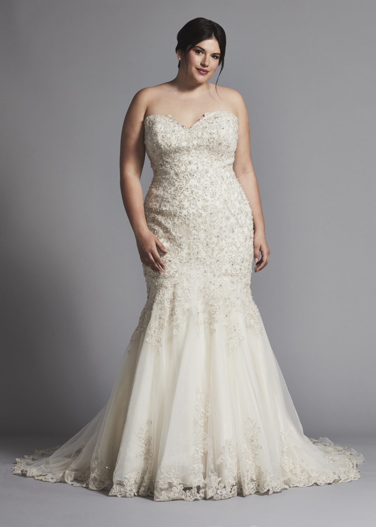 Tulle skirt wedding dress  Strapless fit and flare beaded wedding dress with tulle skirt