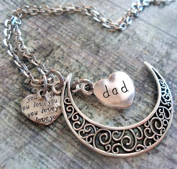 Dad Filigree Crescent Moon Necklace with Love You Heart, Dad Necklace, Special Dad Gift, Dad Birthd