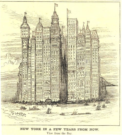 The History Of The Future Of Skyscrapers Thomas Nast 1881 Art And Architecture Retro Futurism History