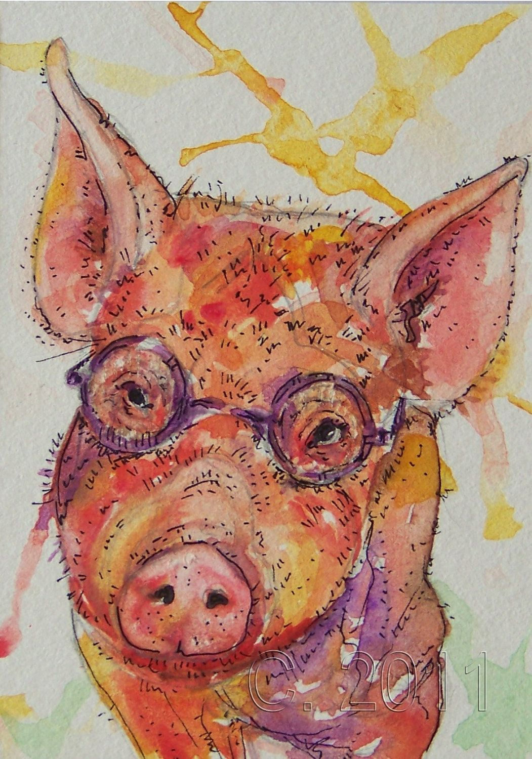 Pig with Glasses, Original ACEO Card - 10% to Search Dog Foundation if purchased in Sept.!