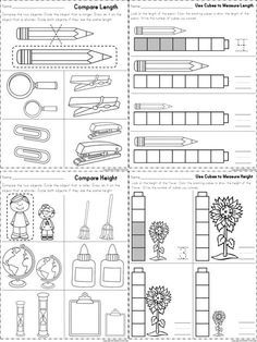 Worksheets for measuring length and height part of a for Heilpadagogik kindergarten
