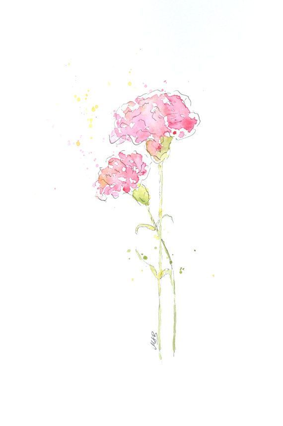 Best Pink Carnations In Water Color Yet Flower Painting