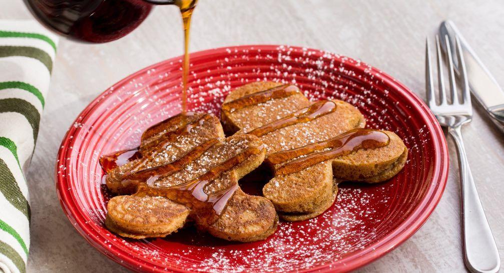 Gingerbread men pancakes recipe holiday breakfast