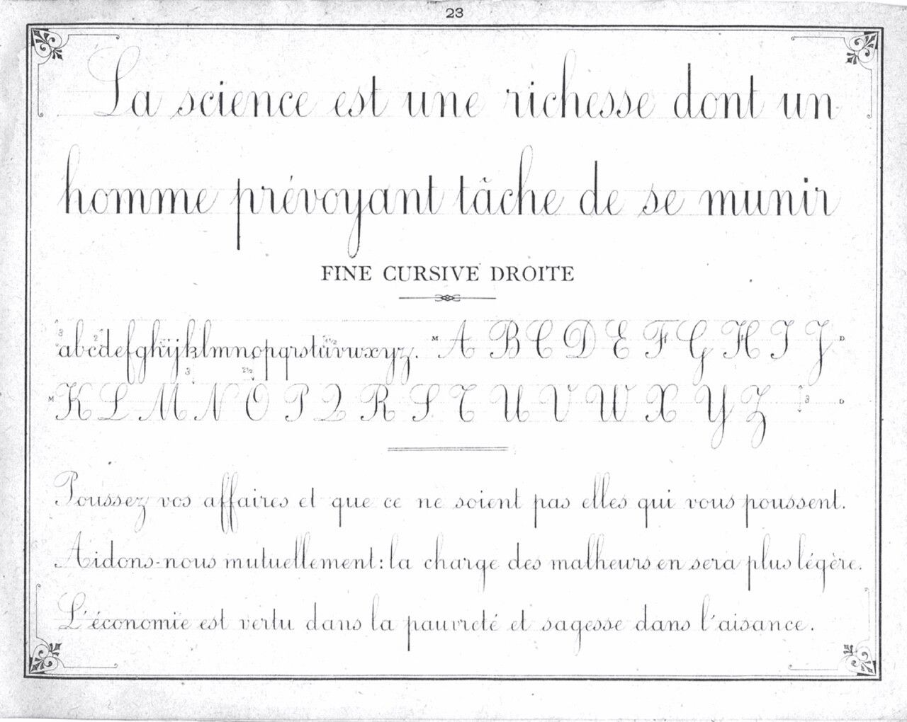 French Vertical Penmanship Calligraphy