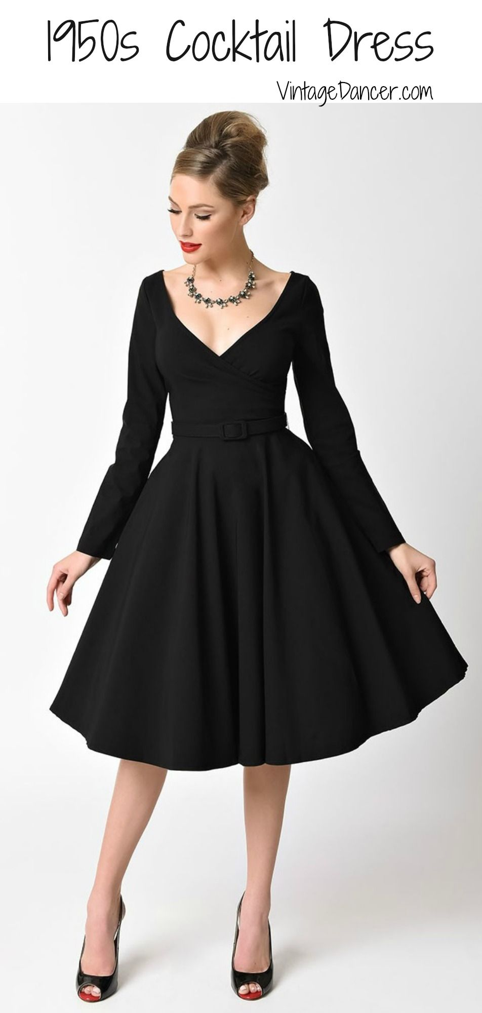 Black 1950s cocktail dresses and party dresses at VintageDancer.com e937ce88e46c