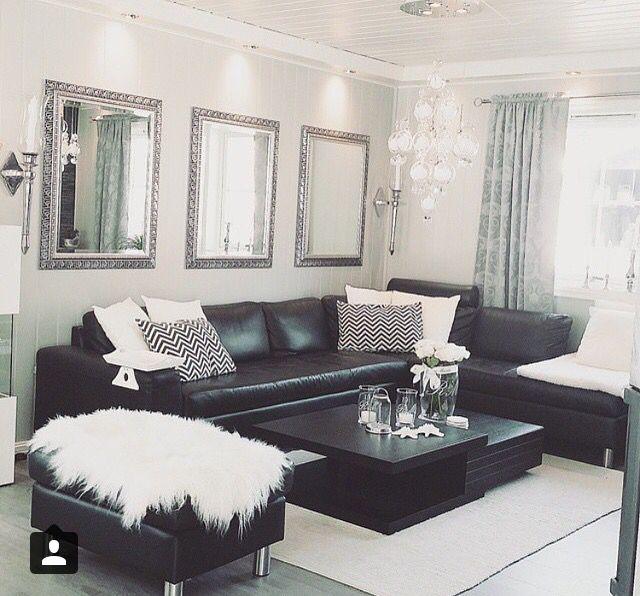 Pin By Carolina Charles On Home Black Sofa Living Room Decor White Living Room Decor Leather Living Room Decor