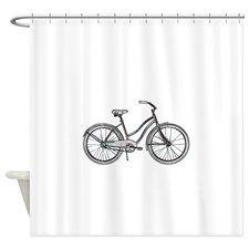 Retro Bike Shower Curtain By Misfits Enterprise Retro Bike