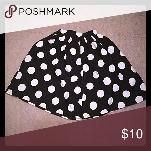 Black A-line Skirt with White Polka Dots Black A-line Skirt with White Polka Dots. Honey mi Honey brand. Size Small. Honey mi Honey  Skirts A-Line or Full