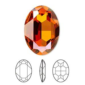 Embellishment, Crystal Passions, crystal chili pepper, foil back, 30x22mm faceted oval fancy stone (4127). Sold individually.